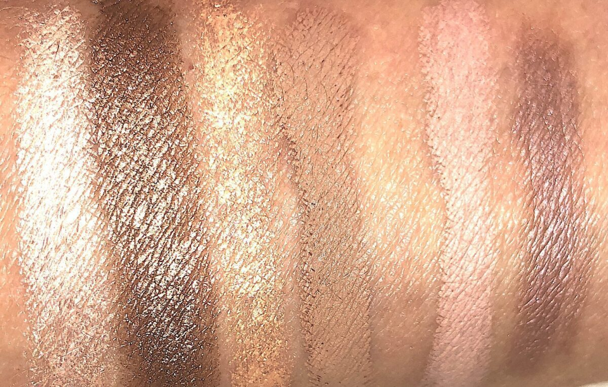 SWATCHES L TO R: TRUFFLE/BRONZE; PEACH MIMOSA / TAUPE; DUSTY MAUVE / MALTED PINK