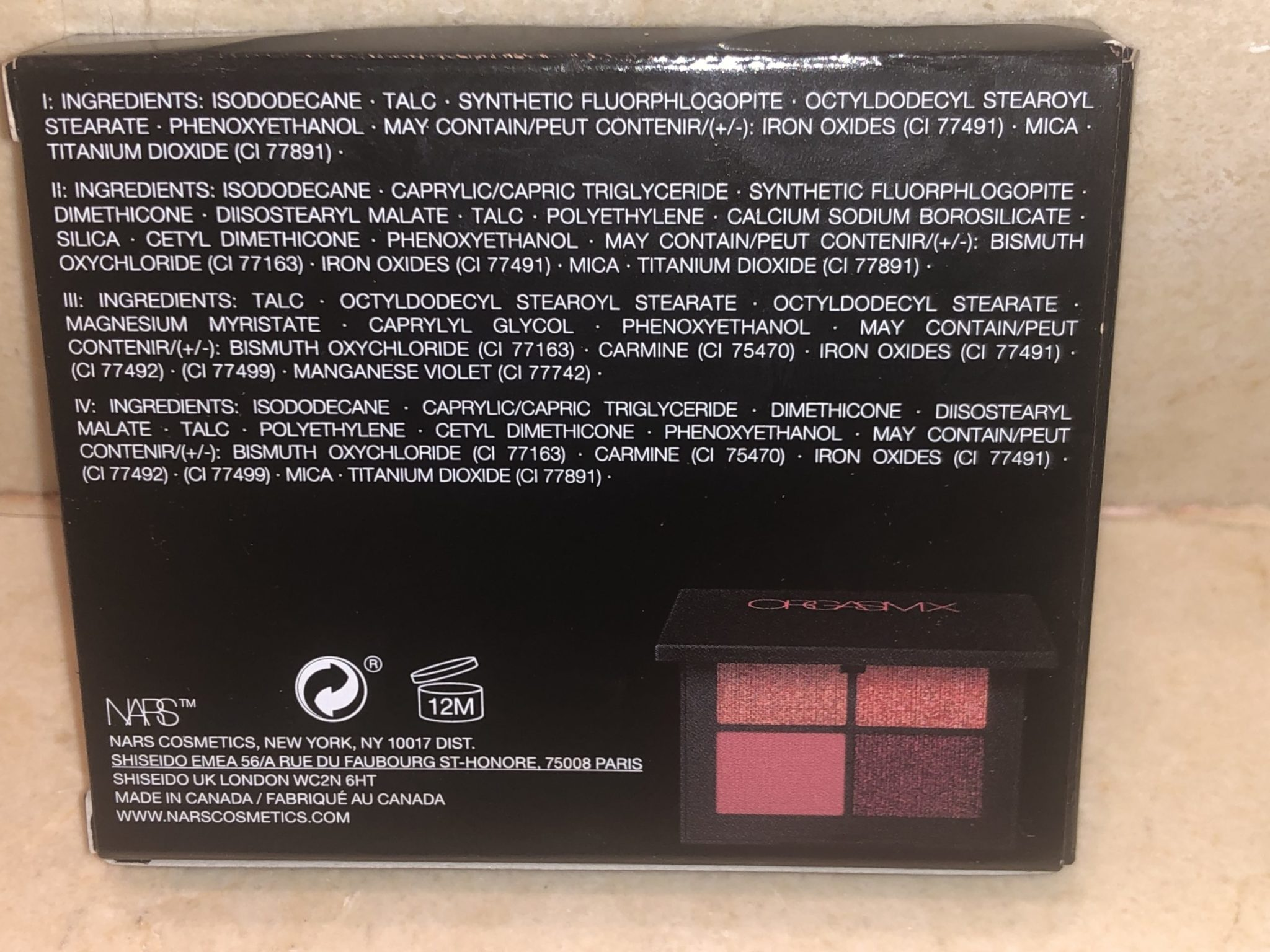 NARS ORGASM X QUAD EYESHADOW INGREDIENTS