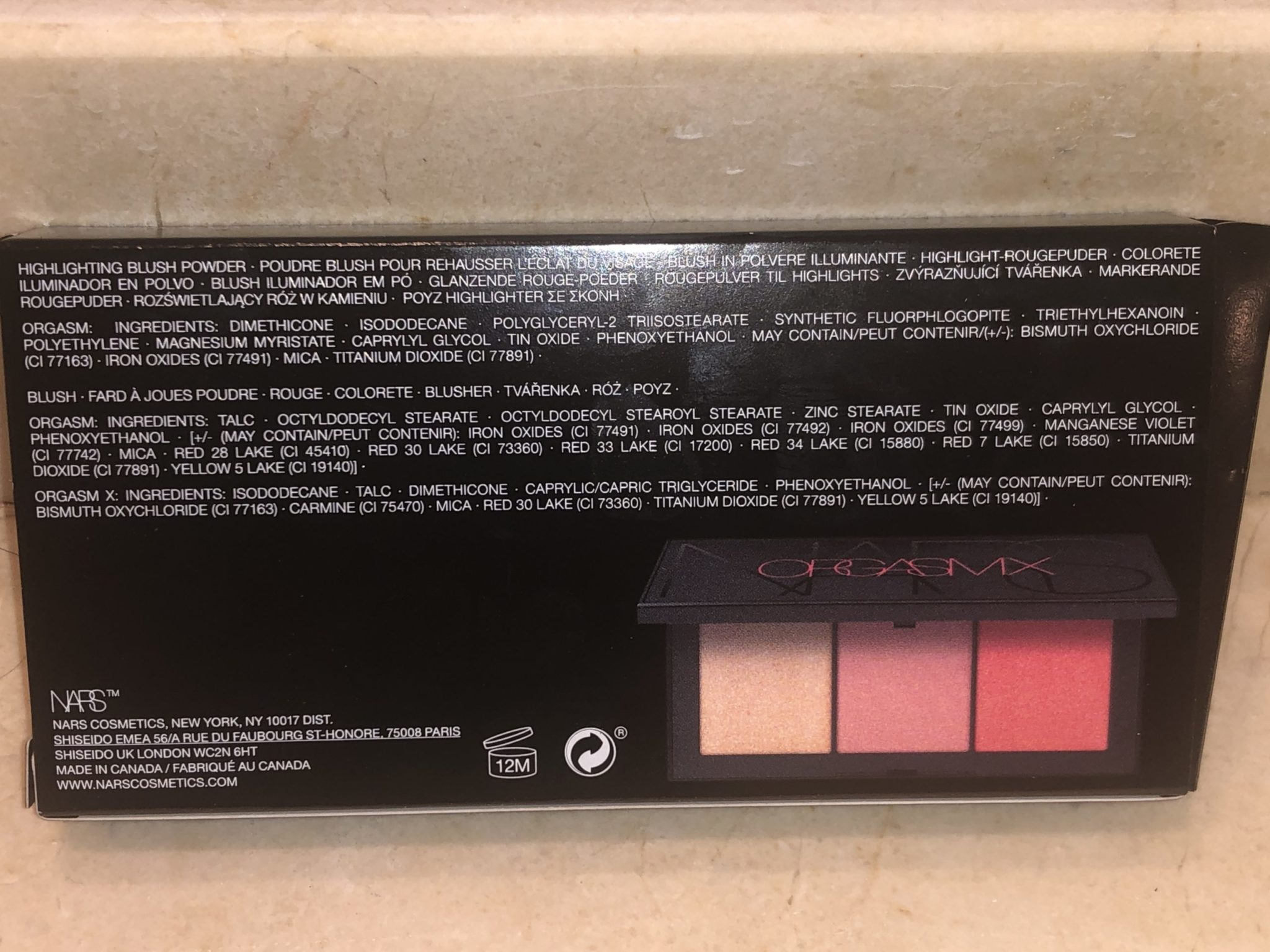 NARS ORGASM X CHEEK PALETTE INGREDIENTS