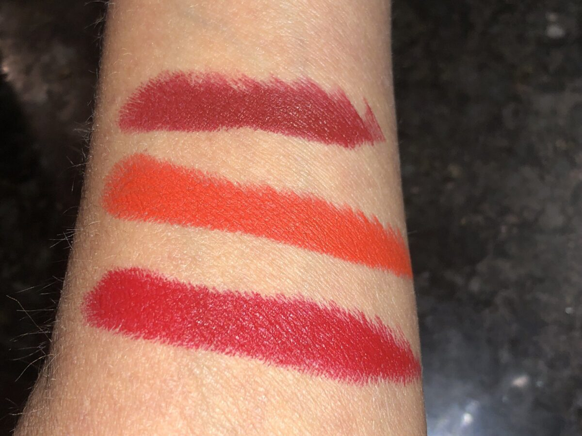 SWATCHES FROM TOP TO BOTTOM: VELVET JAZZ, VELVET MORNING, AND VELVET RIBBON