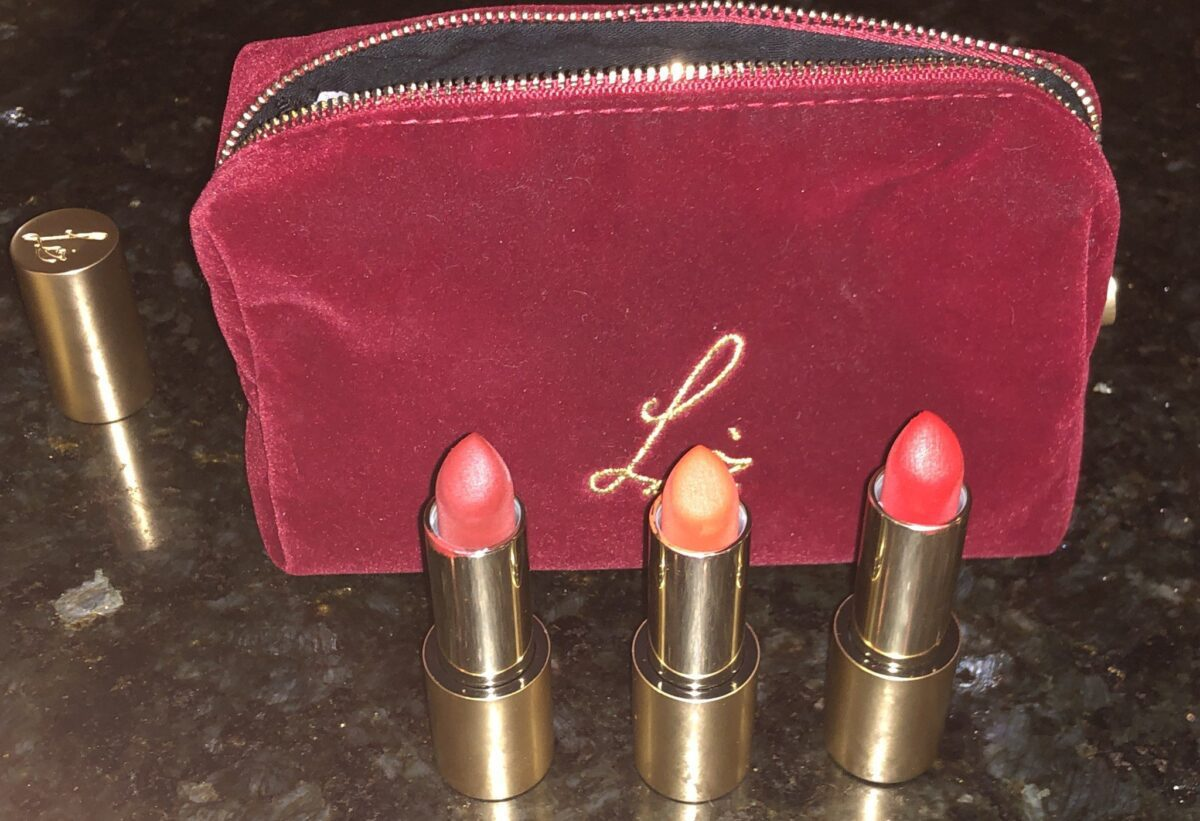 THE TRUE VELVET LIPSTICK COLLECTION COMES IN LISA ELDRIDGE'S CHERRY MAKEUP POUCH