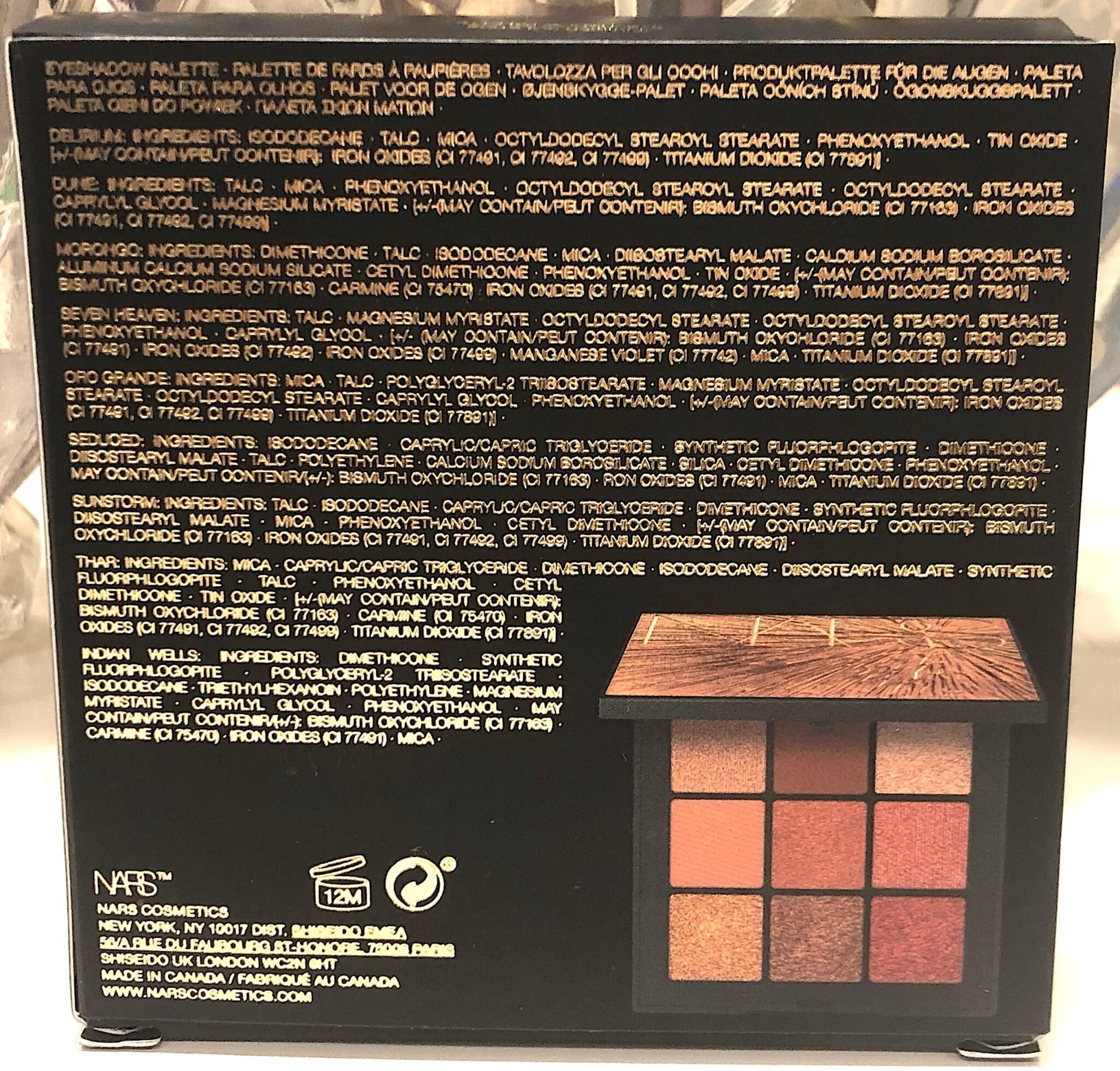 NARS SOLSTICE 2021 COLLECTION INGREDIENTS FOR THE EYESHADOW PALETTE