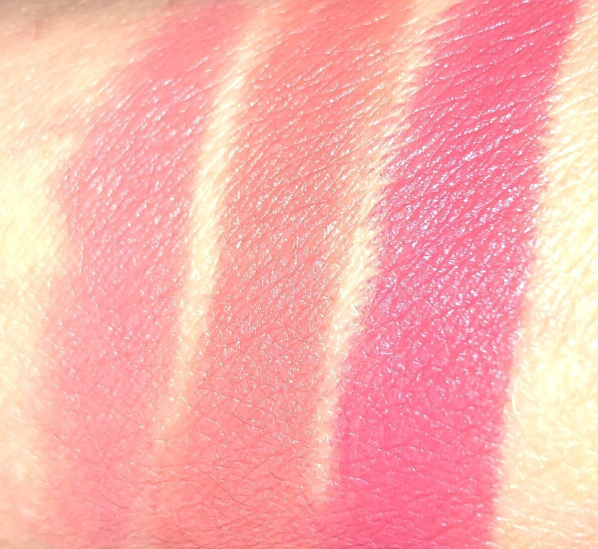 LOVE FILTER BRIDAL LIPSTICK SWATCHES: L TO R: WEDDING BELLS, MRS. KISSES, FIRST DANCE