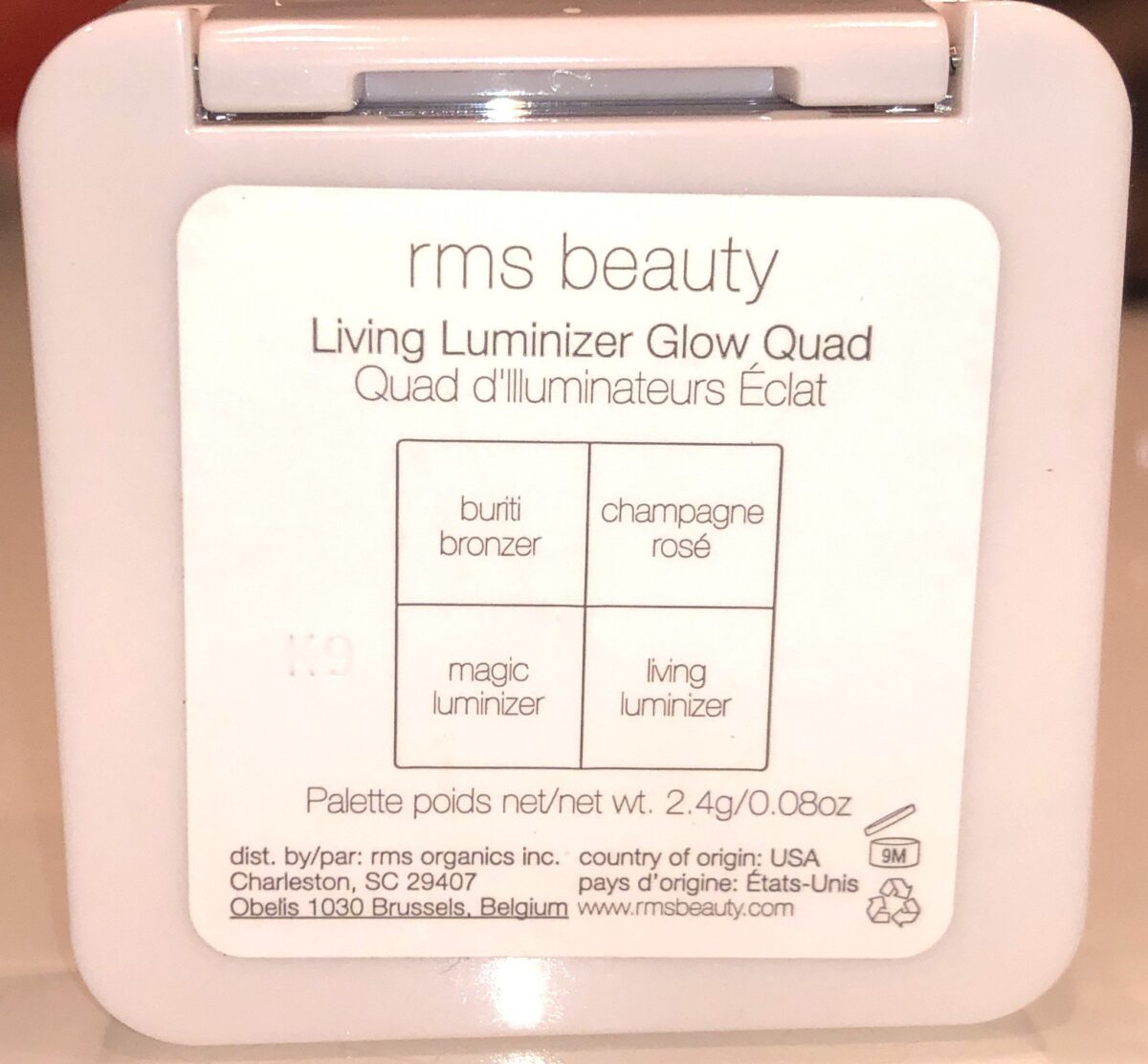THE BACK OF THE RMS LIVING LUMINIZER GLOW QUAD MINI