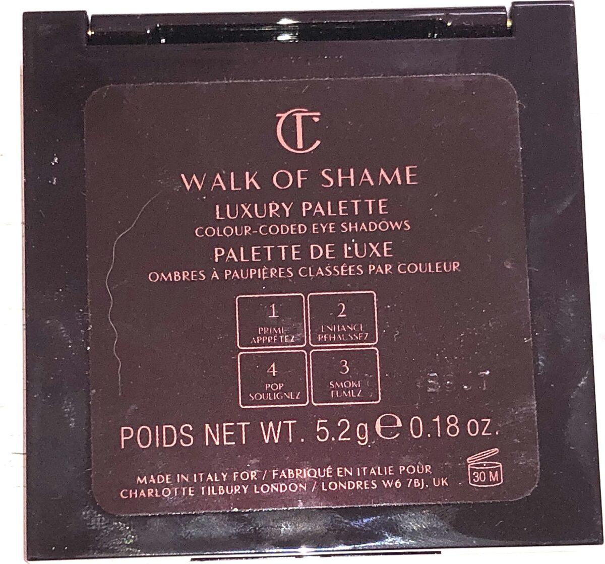BACK OF CHARLOTTE TILBURY WALK OF SHAME EYESHADOW LUXURY COLOR CODED PALETTE