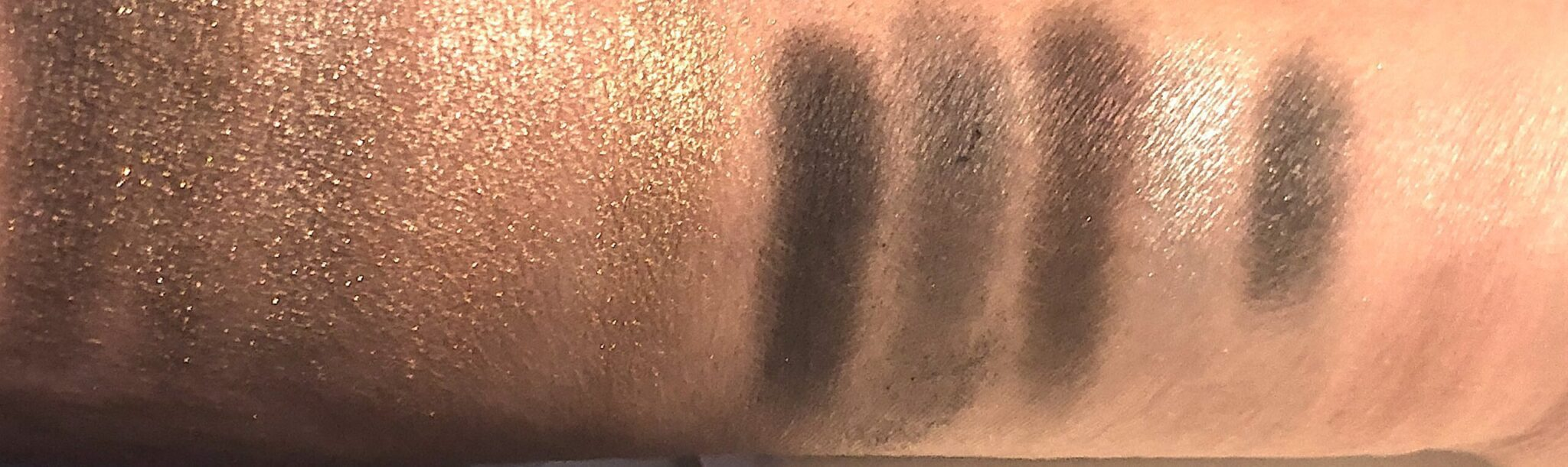 Golden Snow swatches, Black NightSwatches and Rose Frisson Blush swatch