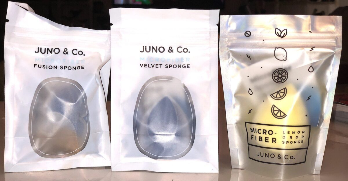 THE JUNO & Co MICROFIBER SPONGES COME IN RESEALABLE BAGS