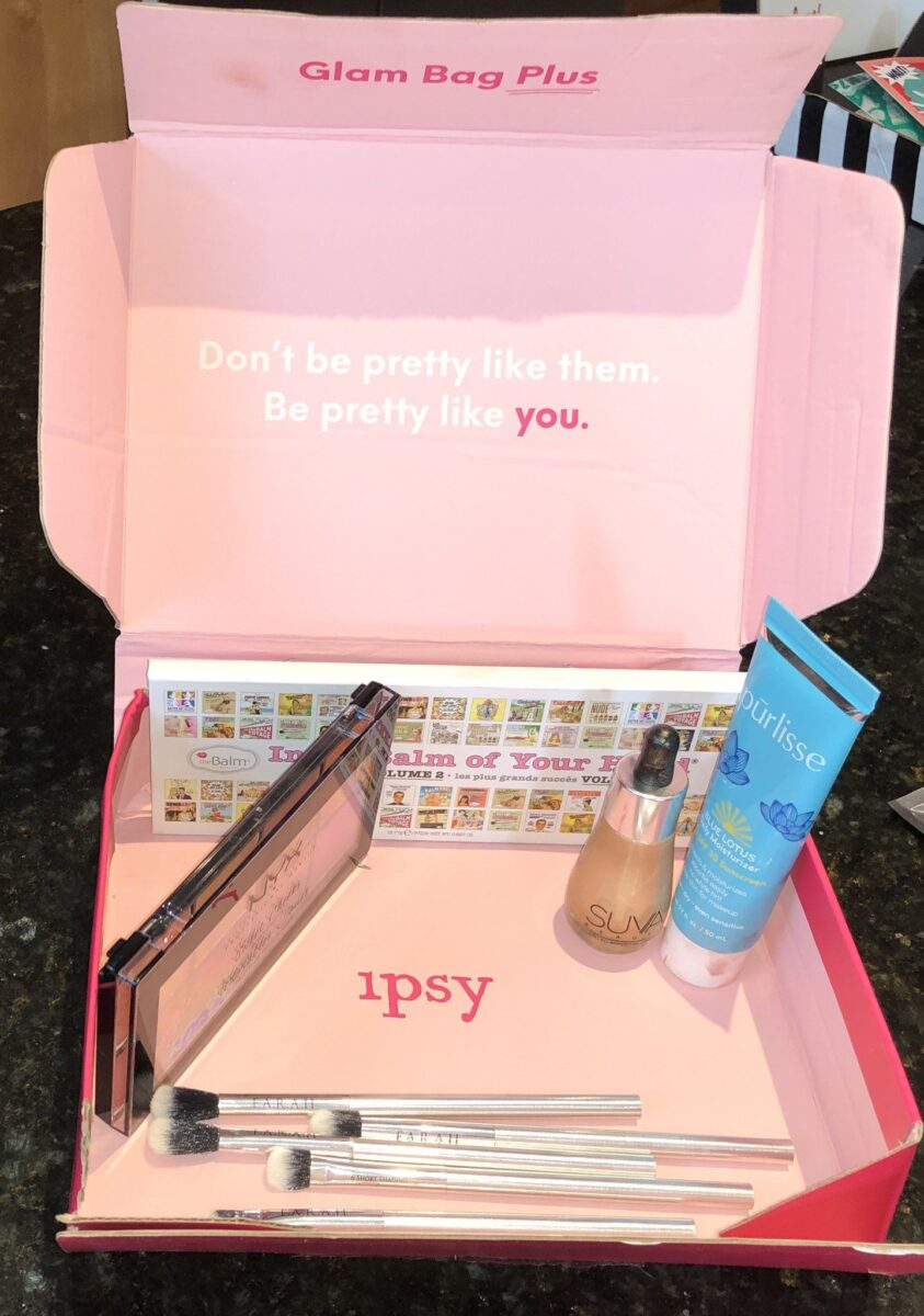 THE IPSY GLA BAG PLUS AUGUST 2019 BOX INSIDE