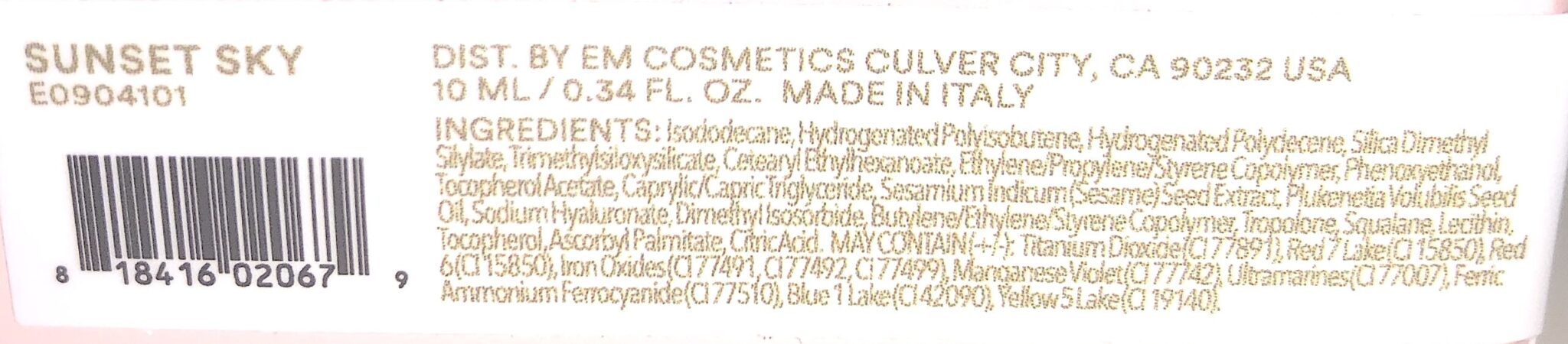 EM COSMETICS COLOR DROPS SERUM BLUSH INGREDIENTS