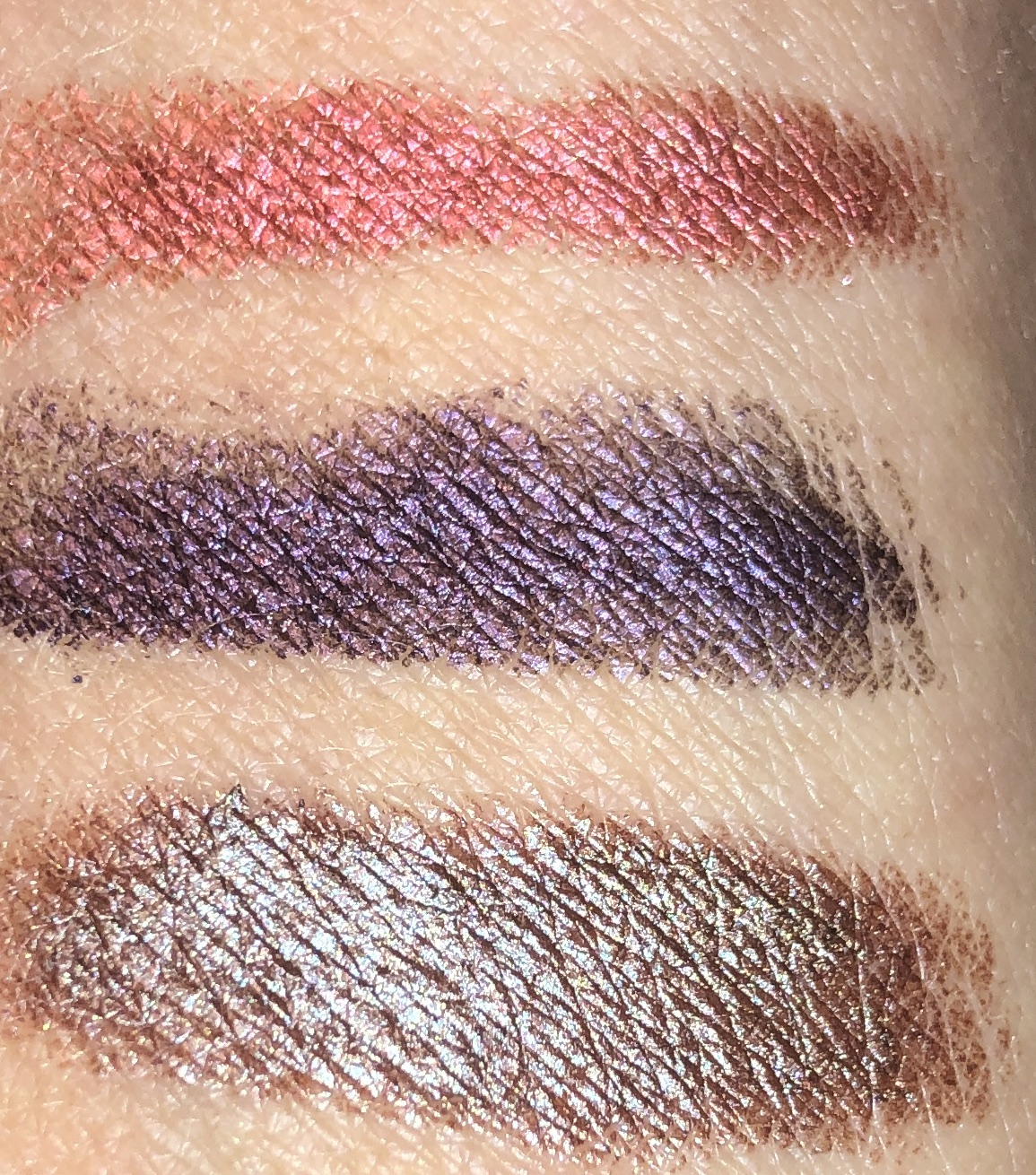 swatches top to bottom: PINK SAPPHIRE, AMETHYST, AND TOPAZ
