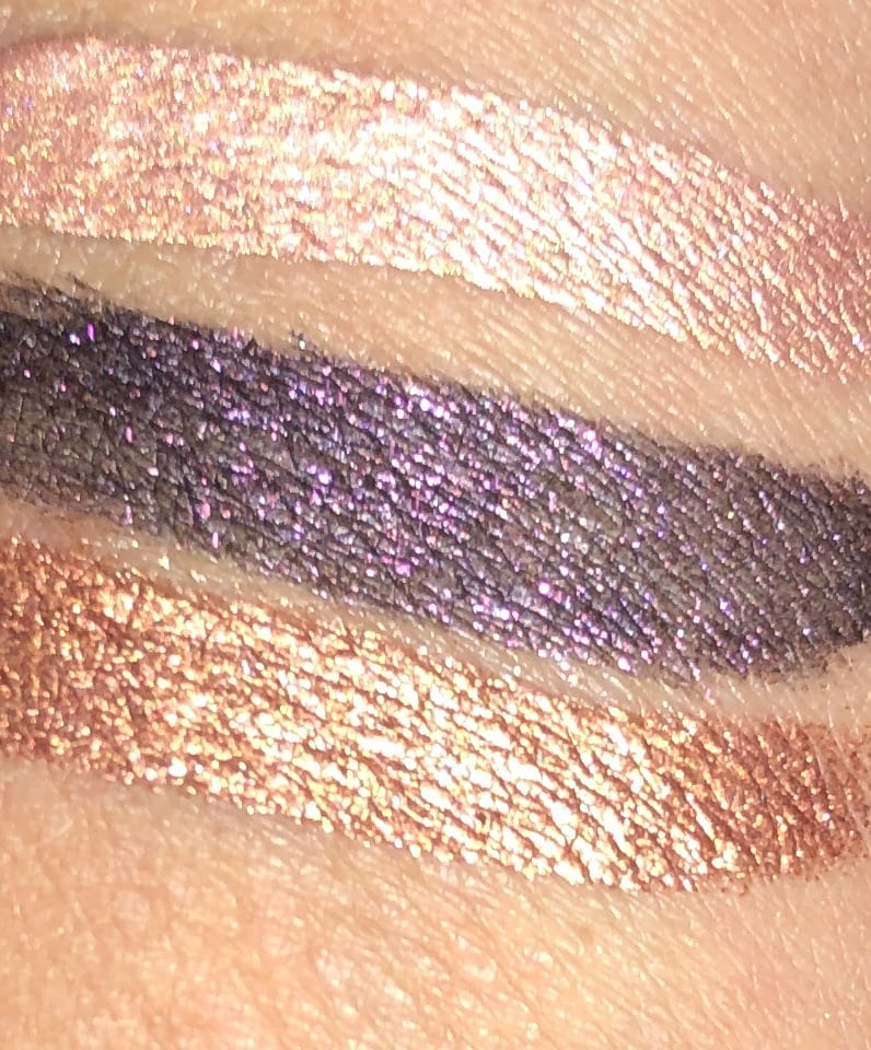 TOP TO BOTTOM, MOONSTONE, NIGHTFALL, AND SIENNA SWATCHES