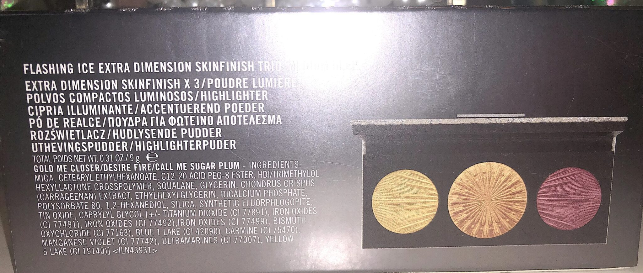 THE INGREDIENTS FOR FLASHING ICE EXTRA DIMENSION SKINFINISH TRIO MEDIUM DEEP
