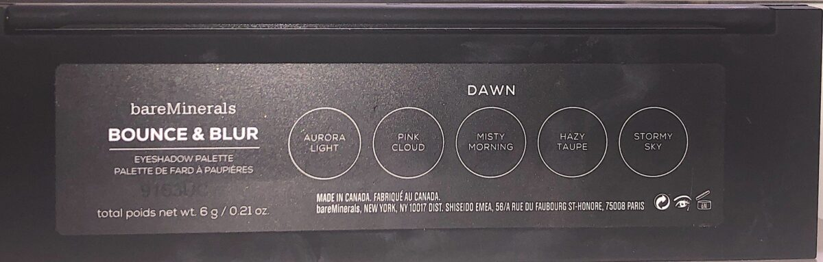 BACK OF BAREMINERALS BOUNCE&BLUR EYESHADOW PALETTE