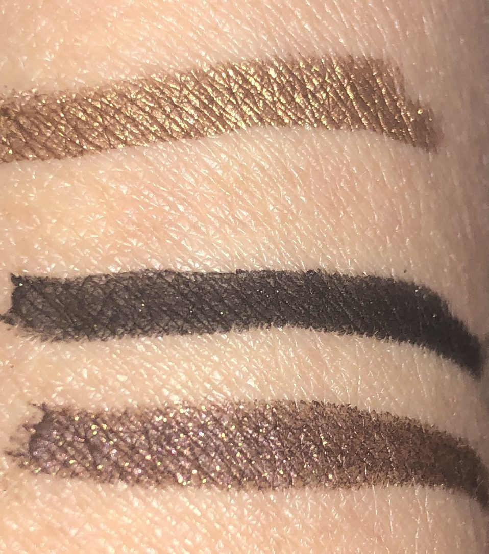 FENTY FLYPENCIL SWATCHES TOP TO BOTTOM: PUPPY EYEZ, CUZ I'M BLACK, AND SPACE COOKIE