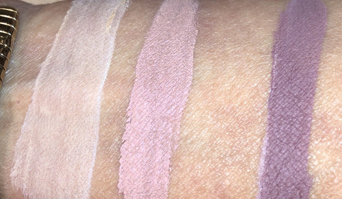 SWATCHES, LEFT NUDE AWAKENING, SASSY AND BUST A MAUVE ON RIGHT