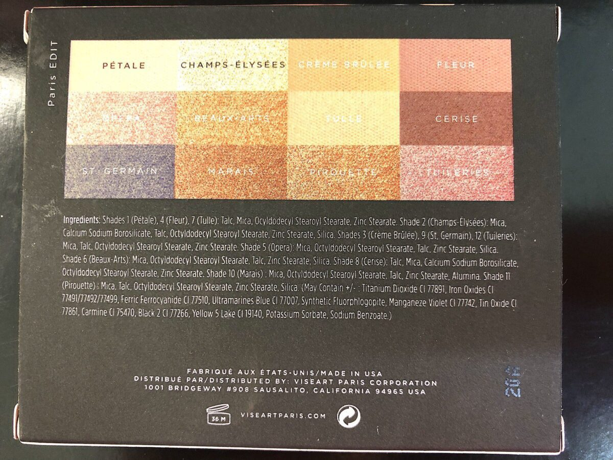 THE INGREDIENTS IN THE VISEART PARIS EDIT EYESHADOW PALETTE MINI