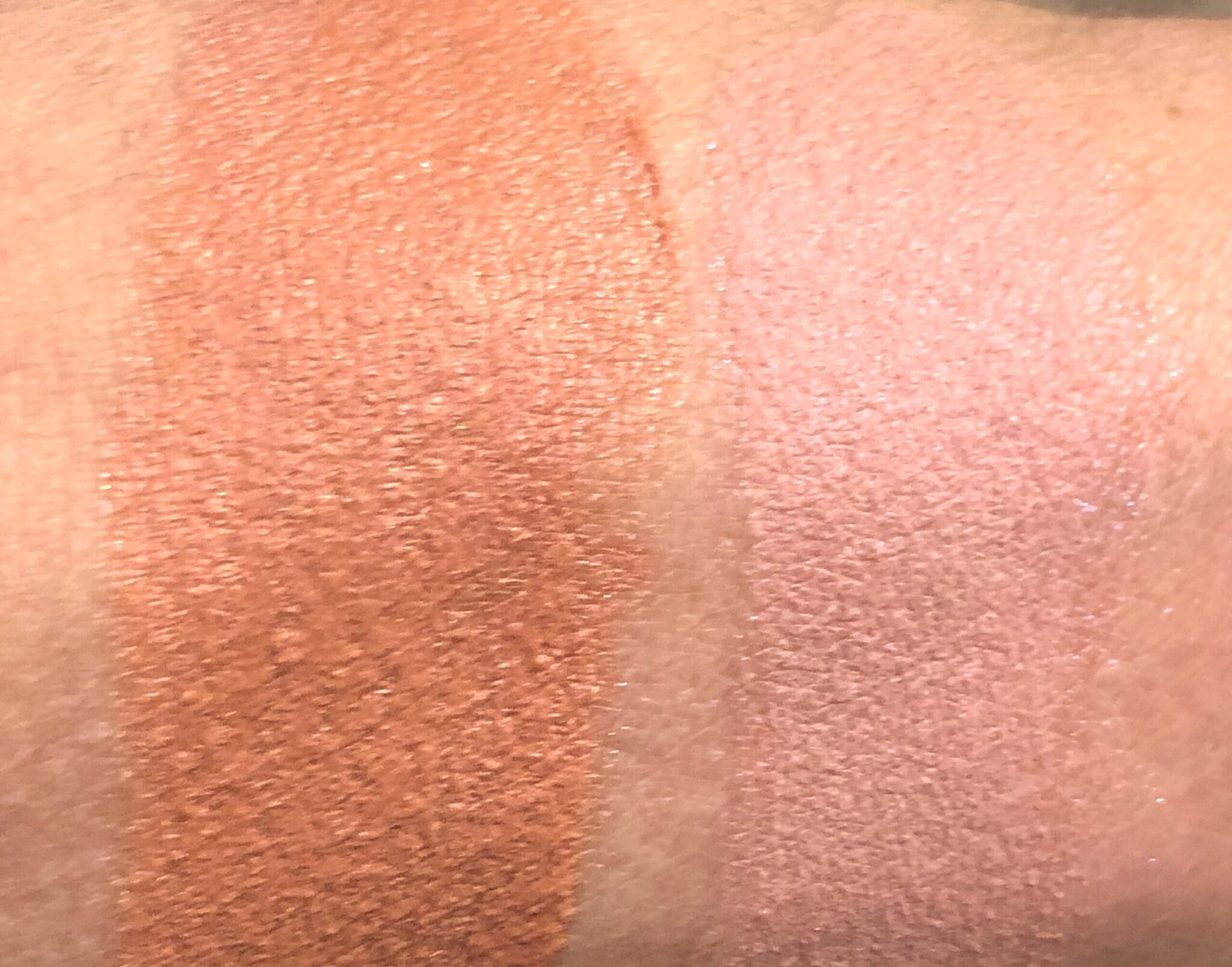 DAYCATION WHIPPED BLUSH SWATCHES, ON THE LEFT IS MELON MOJITO,ON THE RIGHT IS WATERMELON MARG