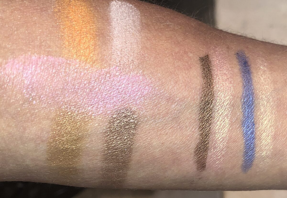 LEFT SWATCHES OF SPRINT PALETTE, RIGHT SWATCHES OF COLOR AND CONTOUR DUOSIN BROWN/PEACH, BLUE/ GOLD