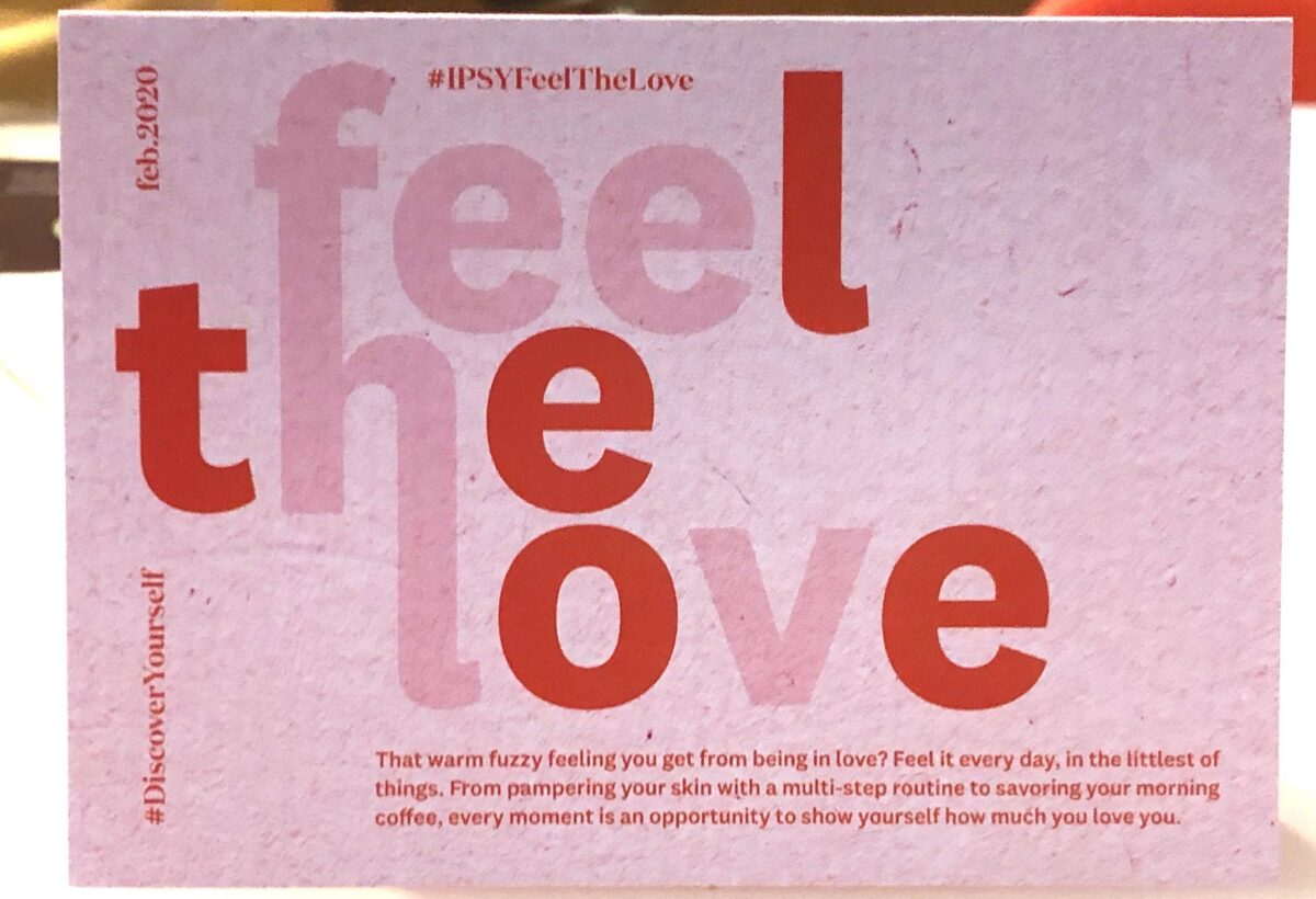 the theme of this month's box is Feel The Love, in keeping with Valentines Day