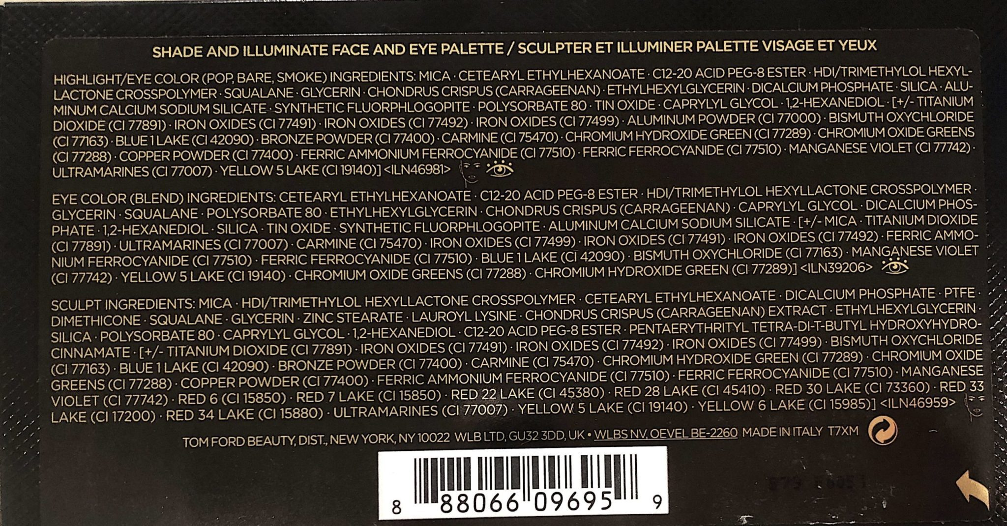 SHADE & ILLUMINATE FACE & EYE PALETTE 2020 IN RED HARNESS- INGREDIENTS