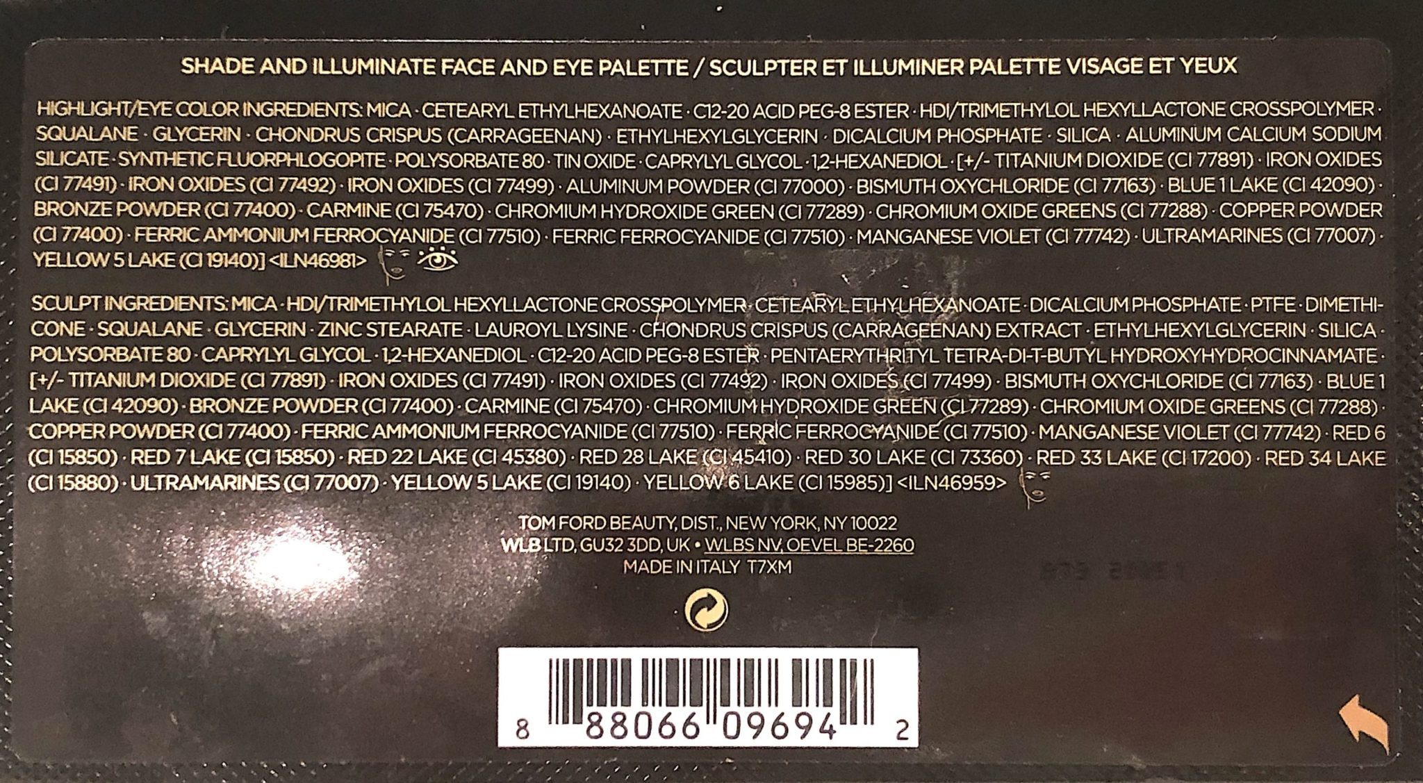 SHADE & ILLUMINATE FACE & EYE PALETTE 2020 INGREDIENTS FOR MOONLIT/VIOLET INTENSITY 2