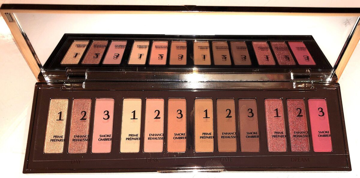 INSIDE THE PILLOW TALK INSTANT EYESHADOW PALETTE, 12 SHADES, DIVIDED INTO 4 LOOKS, AND EACH SHADE IS NUMBERED 1, 2, 3. 1 IS THE PRIME SHADE, 2 IS THE ENHANCE SHADE, AND 3 IS THE SMOKE SHADE