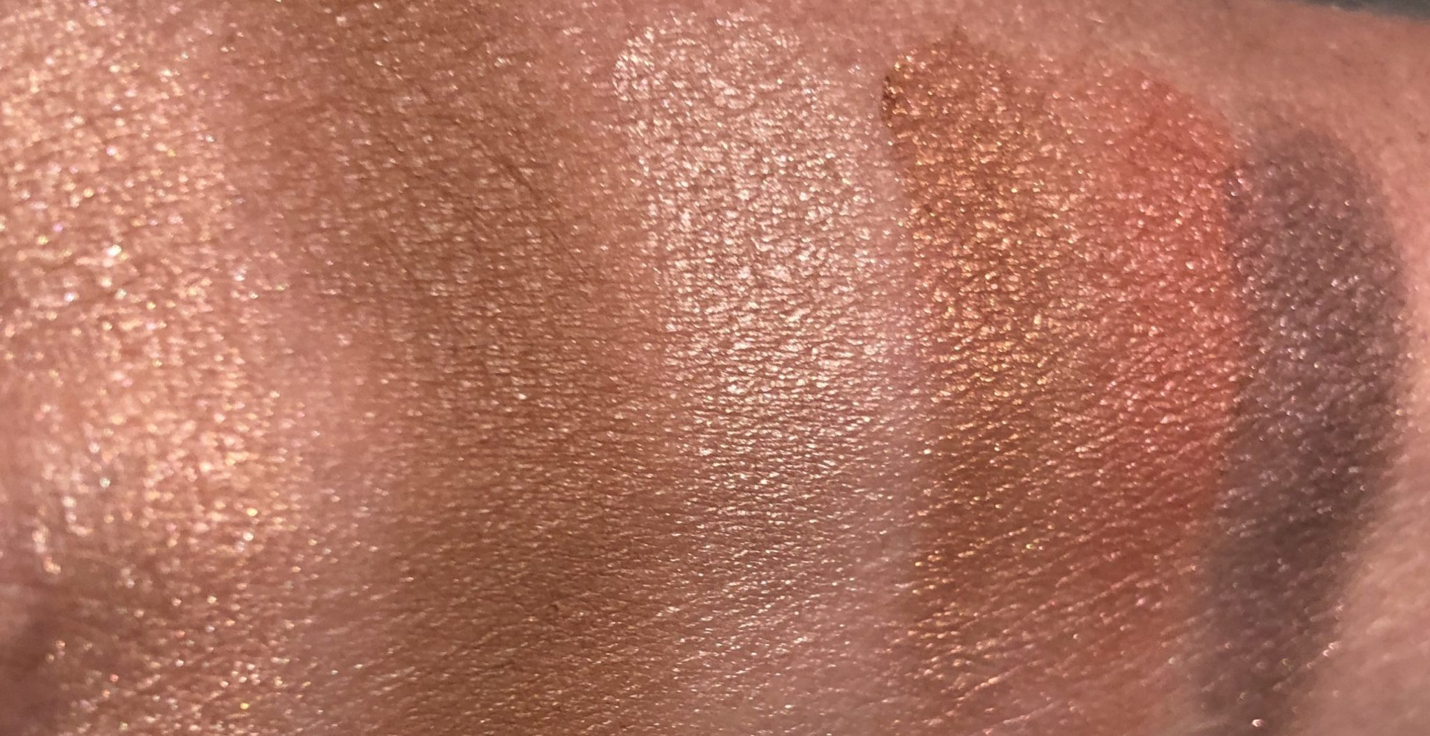 RED/HARNESS PALETTE SWATCHES LEFT IS HIGHLIGHTER, THEN BRONZER, AND FINALLY THE EYESHADOW QUAD