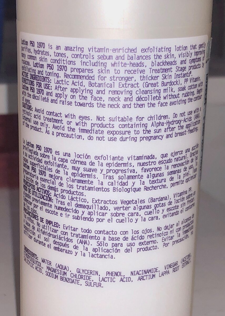 INGREDIENTS FOR BIOLOGIQUE RECHERCHER LOTION P50 1970