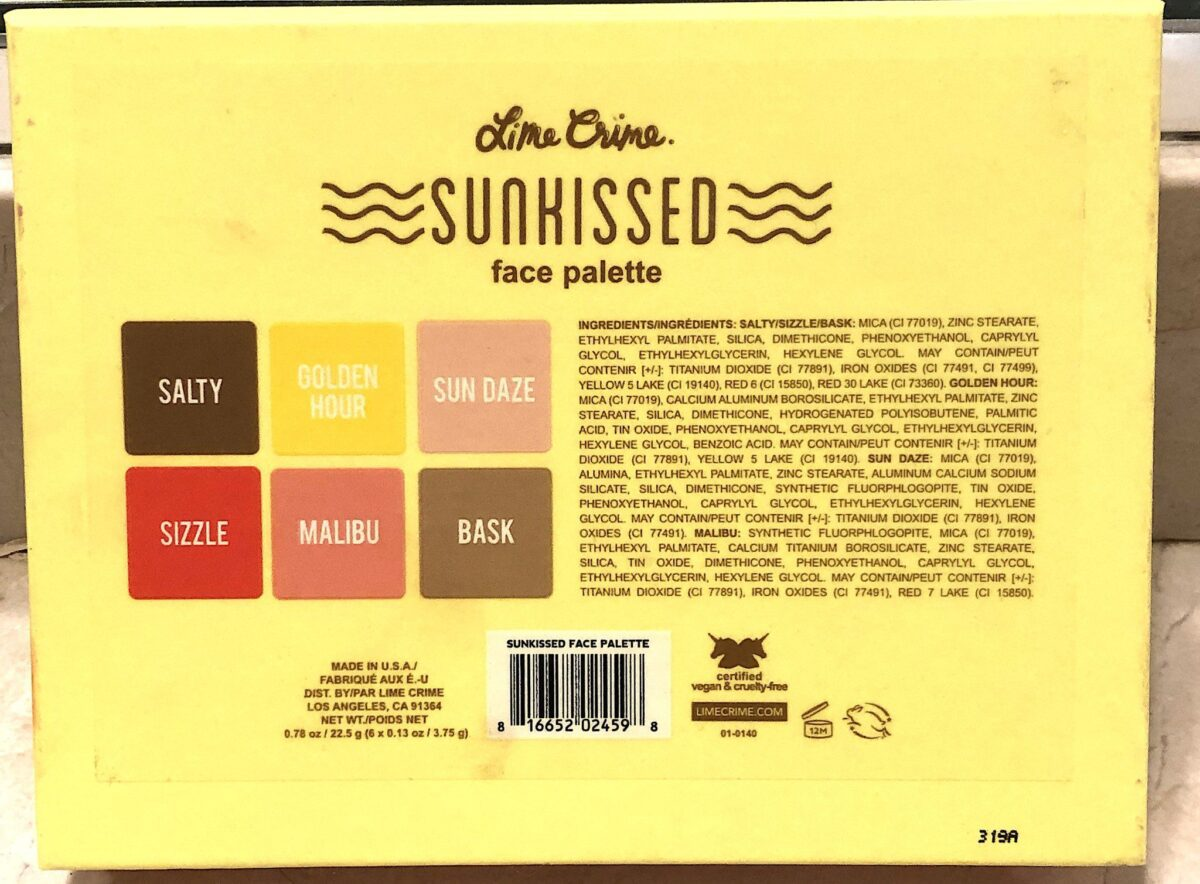 THE BACK OF THE LIME CRIME SUNKISSED FACE PALETTE