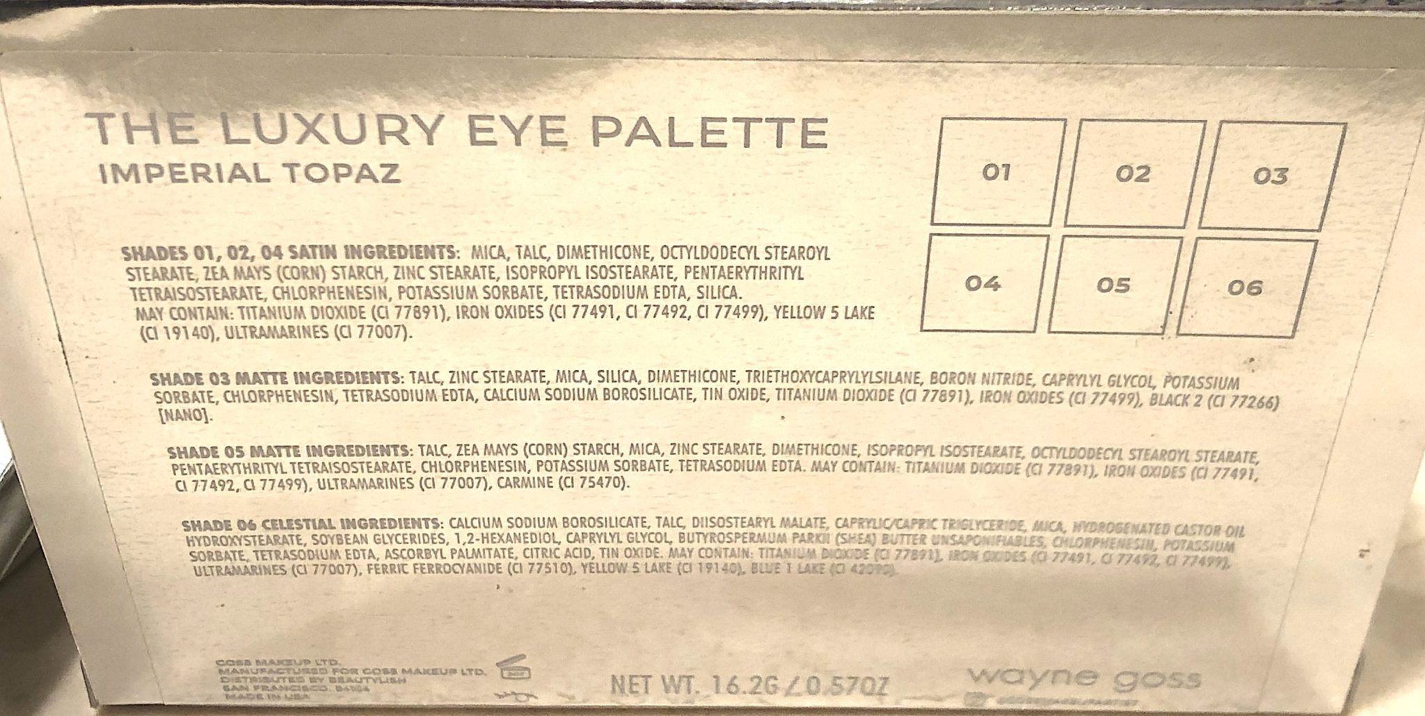 WAYNE GOSS IMPERIAL TOPAZ EYESHADOW PALETTE INGREDIENTS AND PLACEMENT OF THE SHADES IN THE PALETTE