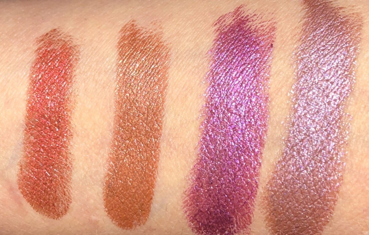 SWATCHES LEFT TO RIGHT: GOLDIE RED, LETTY ORANGE, BILLIE MAGENTA AND NORMA PINK