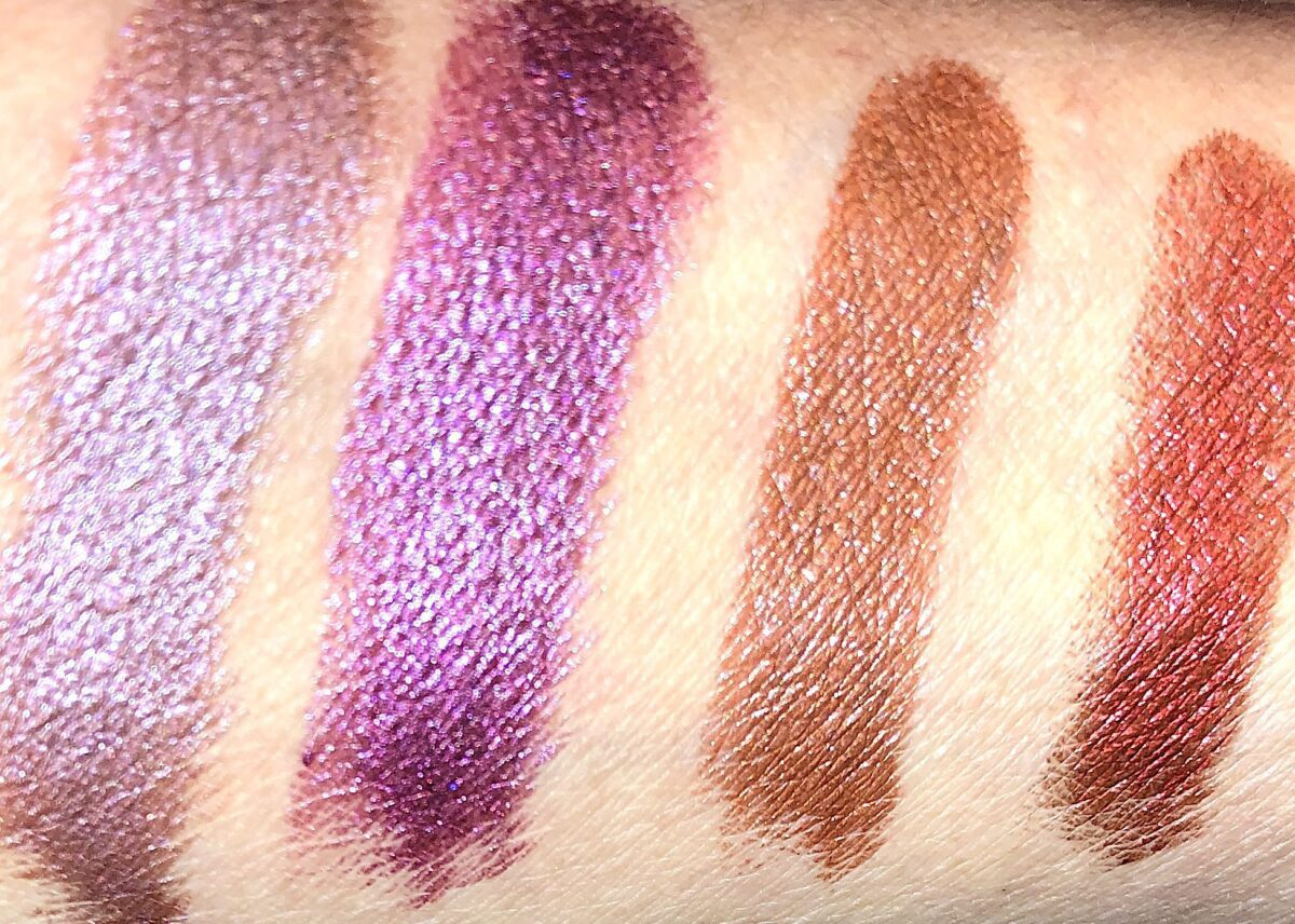L TO R SWATCHES NORMA PINK, BILLIE MAGENTA, LETTY ORANGE, AND GOLDIE RED