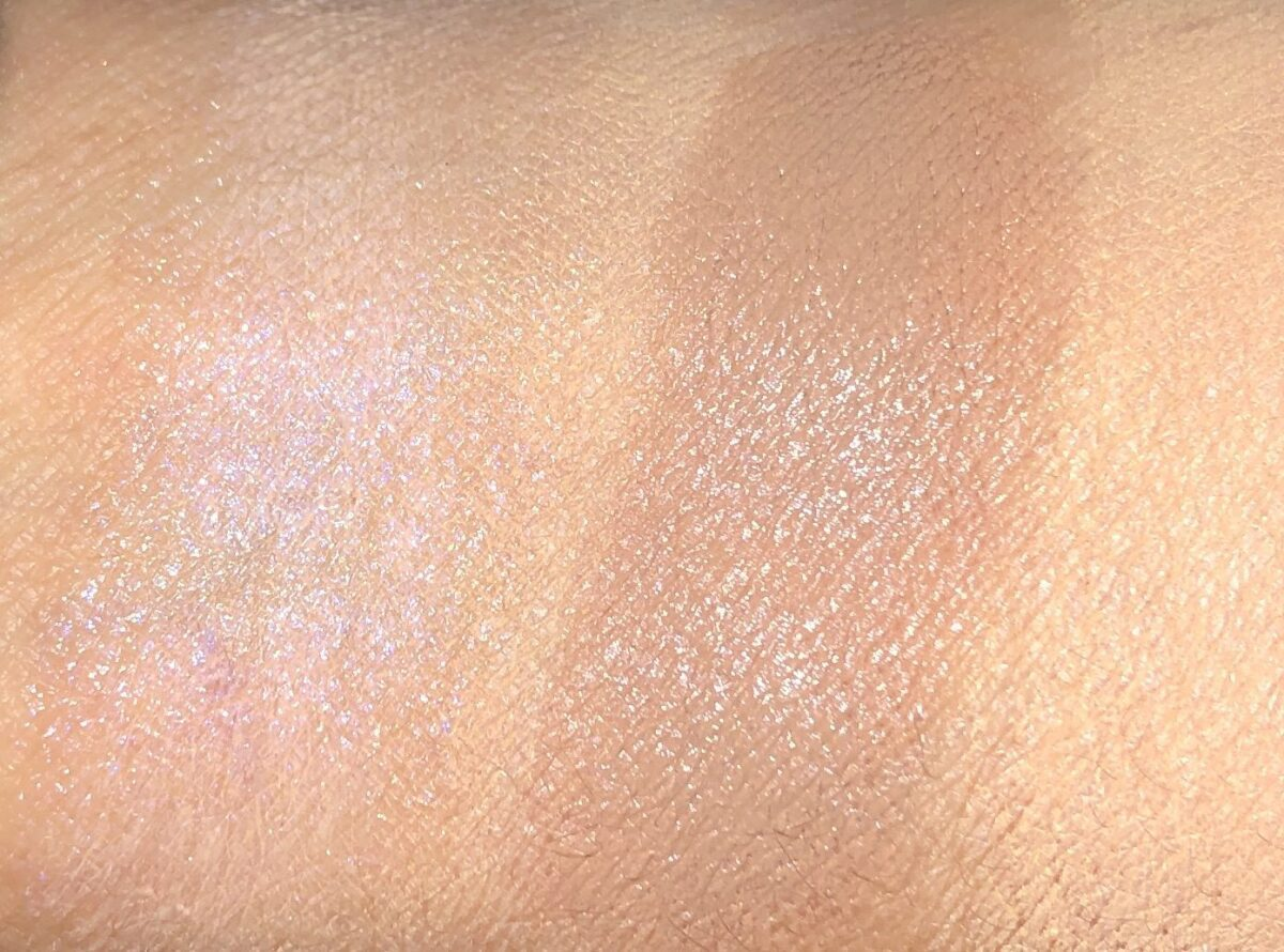 SWATCHES , LIT HIGHLIGHTER ON LEFT, BISCUIT CONTOUR ON RIGHT