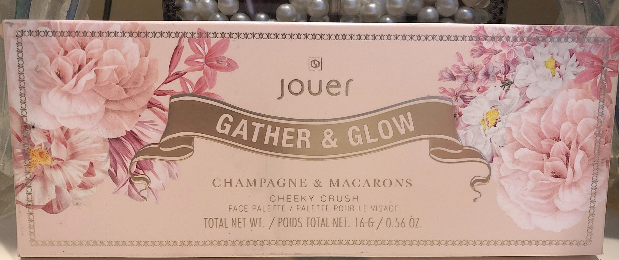 THE OUTER BOX FOR THE JOUER CHAMPAGNE & MACARONS FACE PALETTE