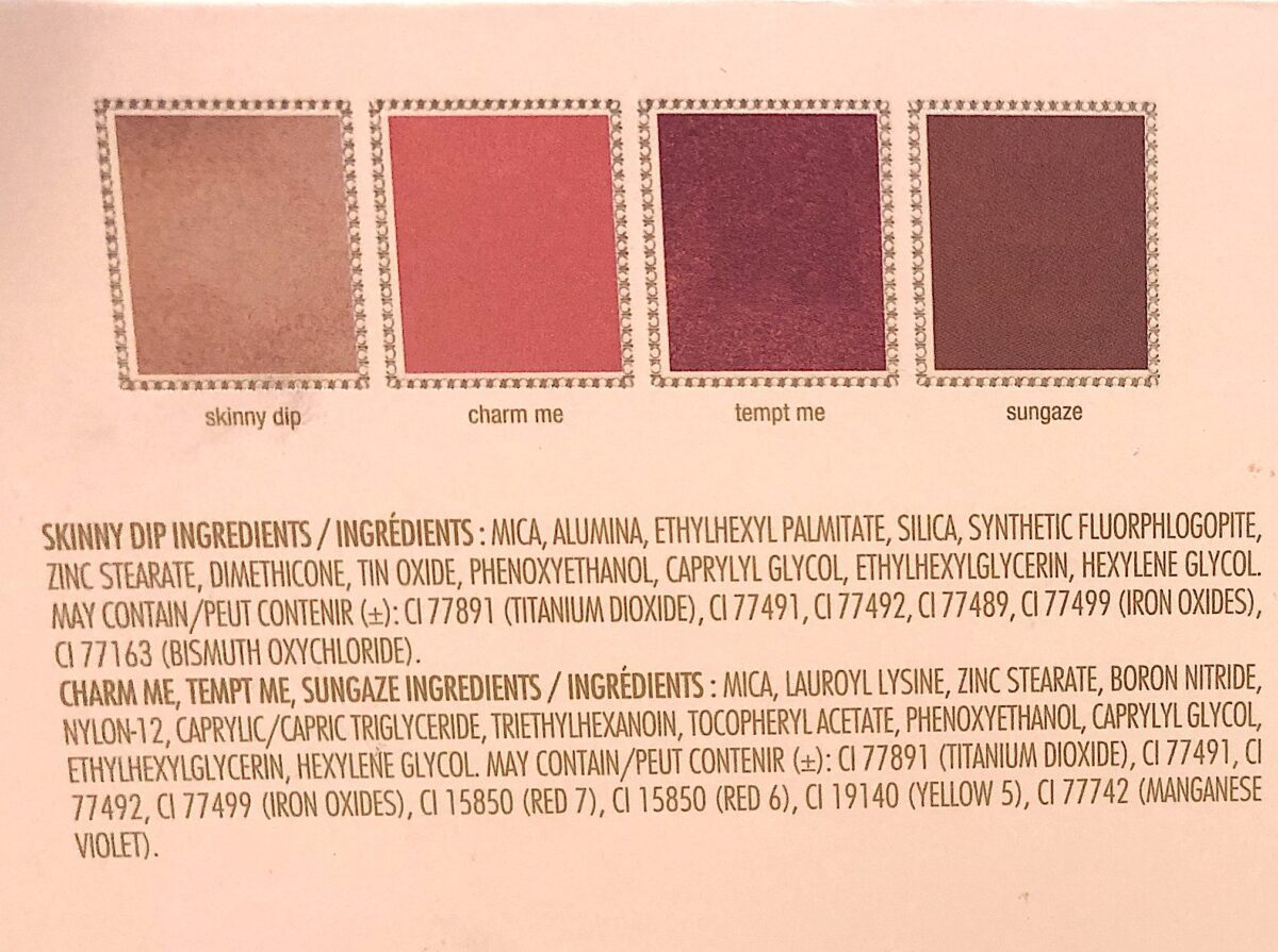 THE INGREDIENTS IN THE JOUER CHAMPAGNE & MACARONS FACE PALETTE
