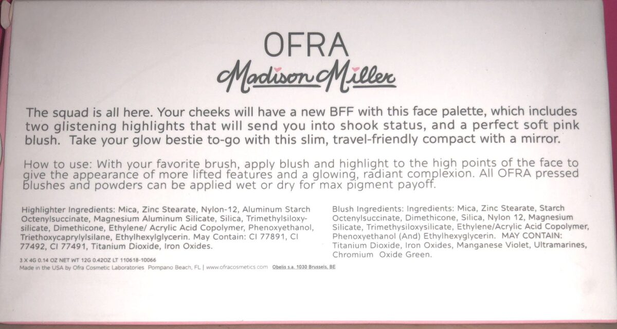OFRA INGREDIENTS