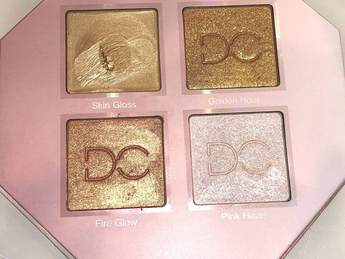 TOP L TO R - SKIN GLOSS, AND FIRE GLOW BOTTOM L TO R GOLDEN HOUR AND PINK HAZE