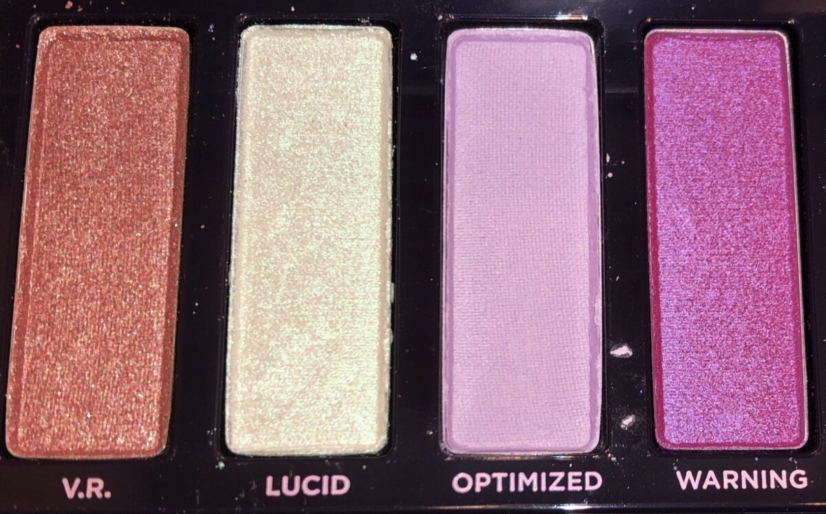 NAKED ULTRAVIOLET SHADES L TO R: VR, LUCID, OPTIMIZED, AND WARNING