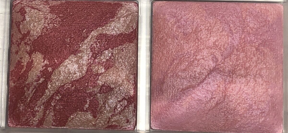 IRIDESCENT ROSE BLUSH ON LEFT, SUBLIME FLUSH ON RIGHT