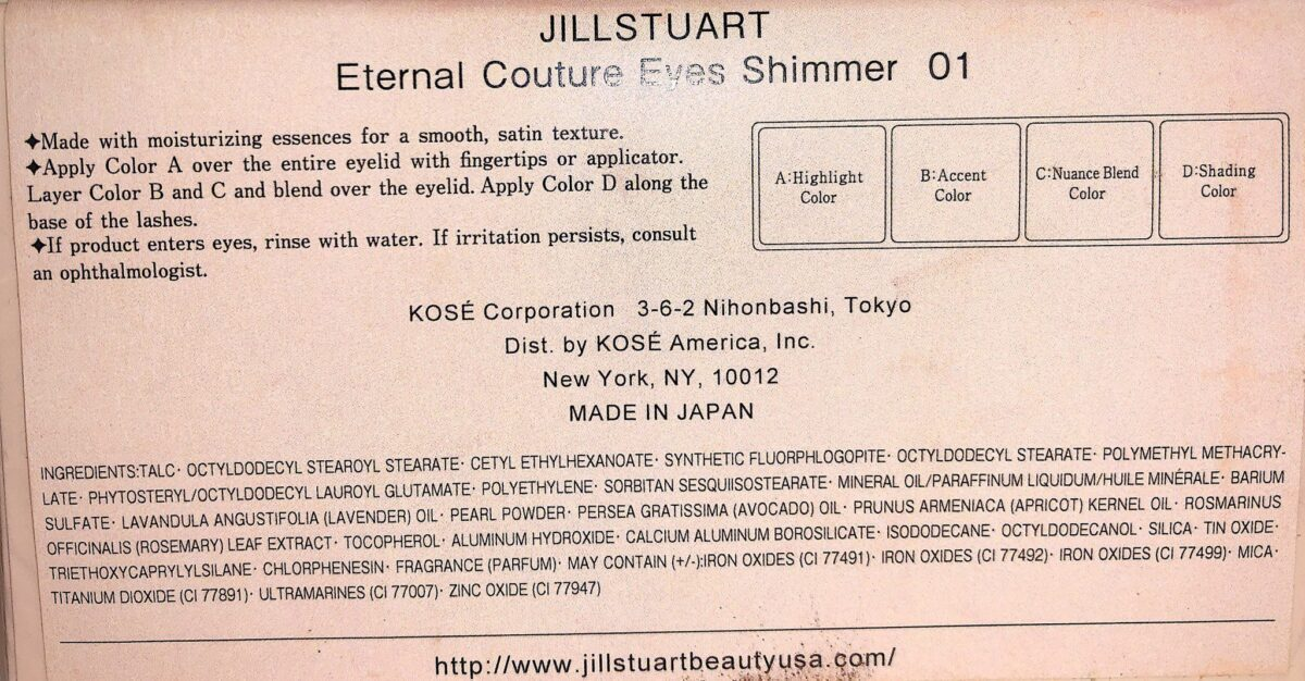 INGREDIENTS IN THE JILL STUART ETERNAL COUTURE EYES SHIMMER PALETTE O1