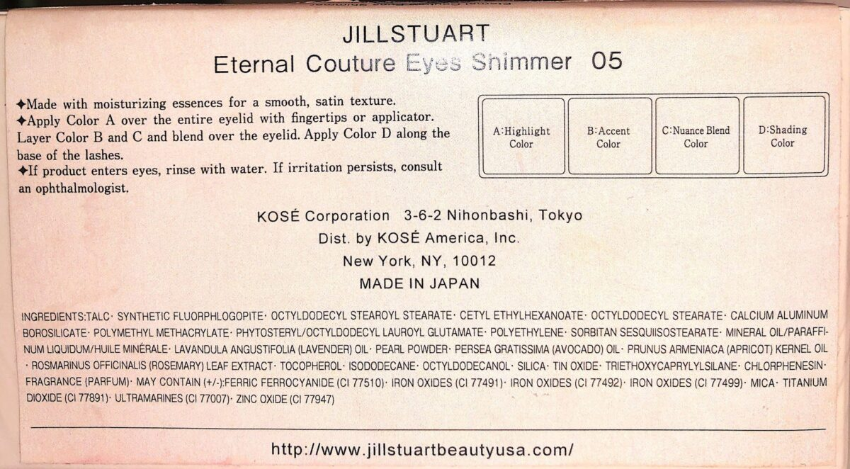INGREDIENTS IN THE JILL STUART COUTURE EYES SHIMMER 05 PALETTE