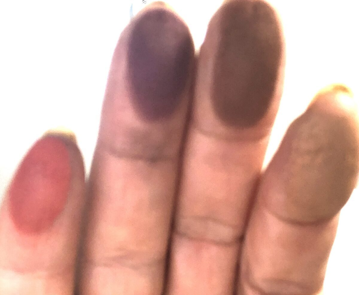 TWEED FINGER SWATCHES RUST, OXBLOOD, CASHMERE AND CARAMEL