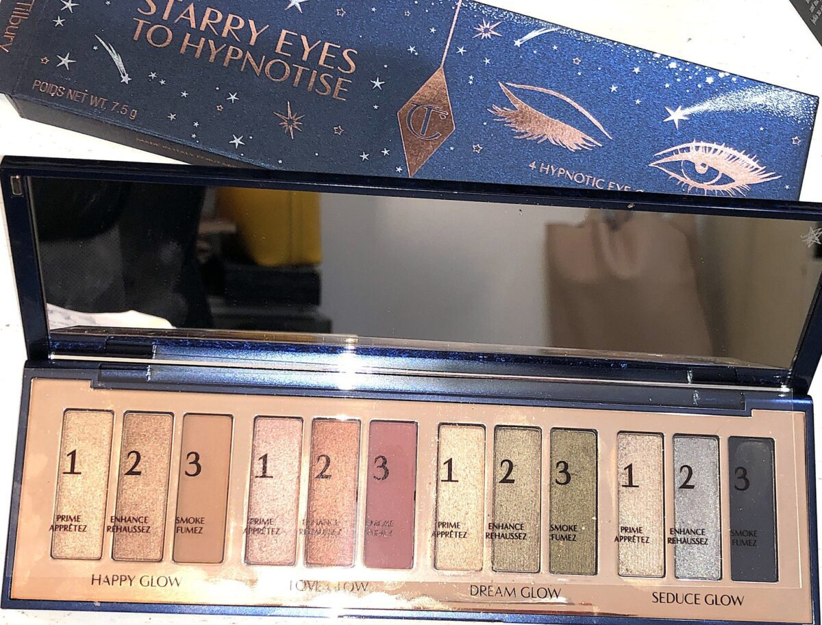 INSIDE THE STARRY EYES TO HYPNOTIZE PALETTE THERE IS A LARGE MIRROR, AND 12 NUMBERED EYESHADOWS