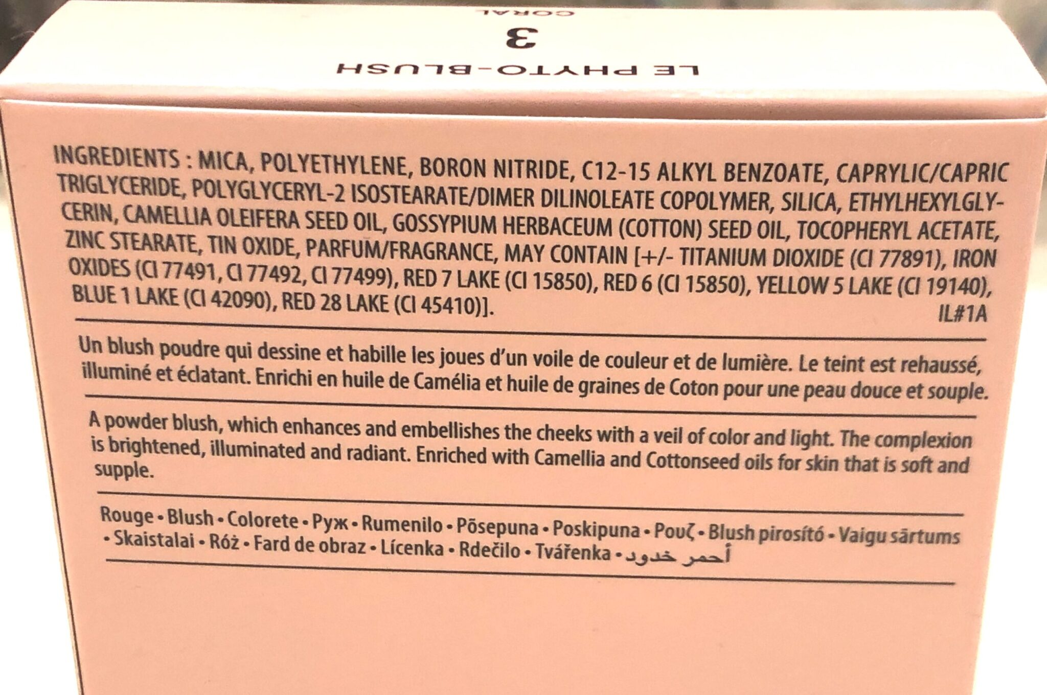 Le Phyto Blush Formula ingredients for #3 Coral