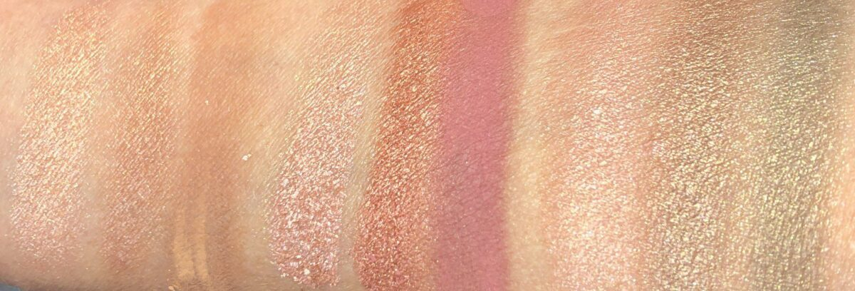 FROM LEFT TO RIGHT, FIRST 3 SHADOWS ARE HAPPY GLOW, SECOND 3 ARE LOVE GLOW, THIRD THREE ARE DREAM GLOW