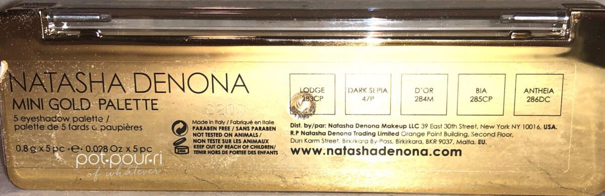 BACK SIDE OF THE MINI GOLD PALETTE CASE
