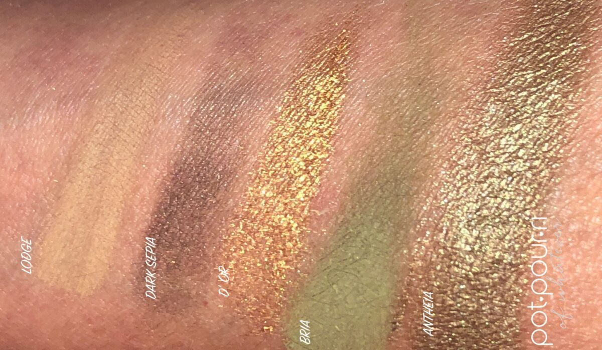 SWATCHES OF THE MINI GOLD PALETTE