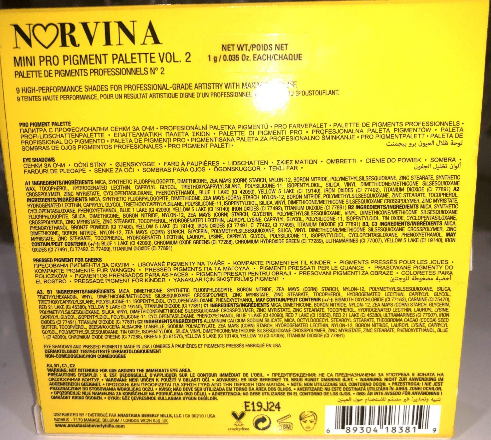 MINI NORVINA COLLECTION INGREDIENTS VOLUME 2