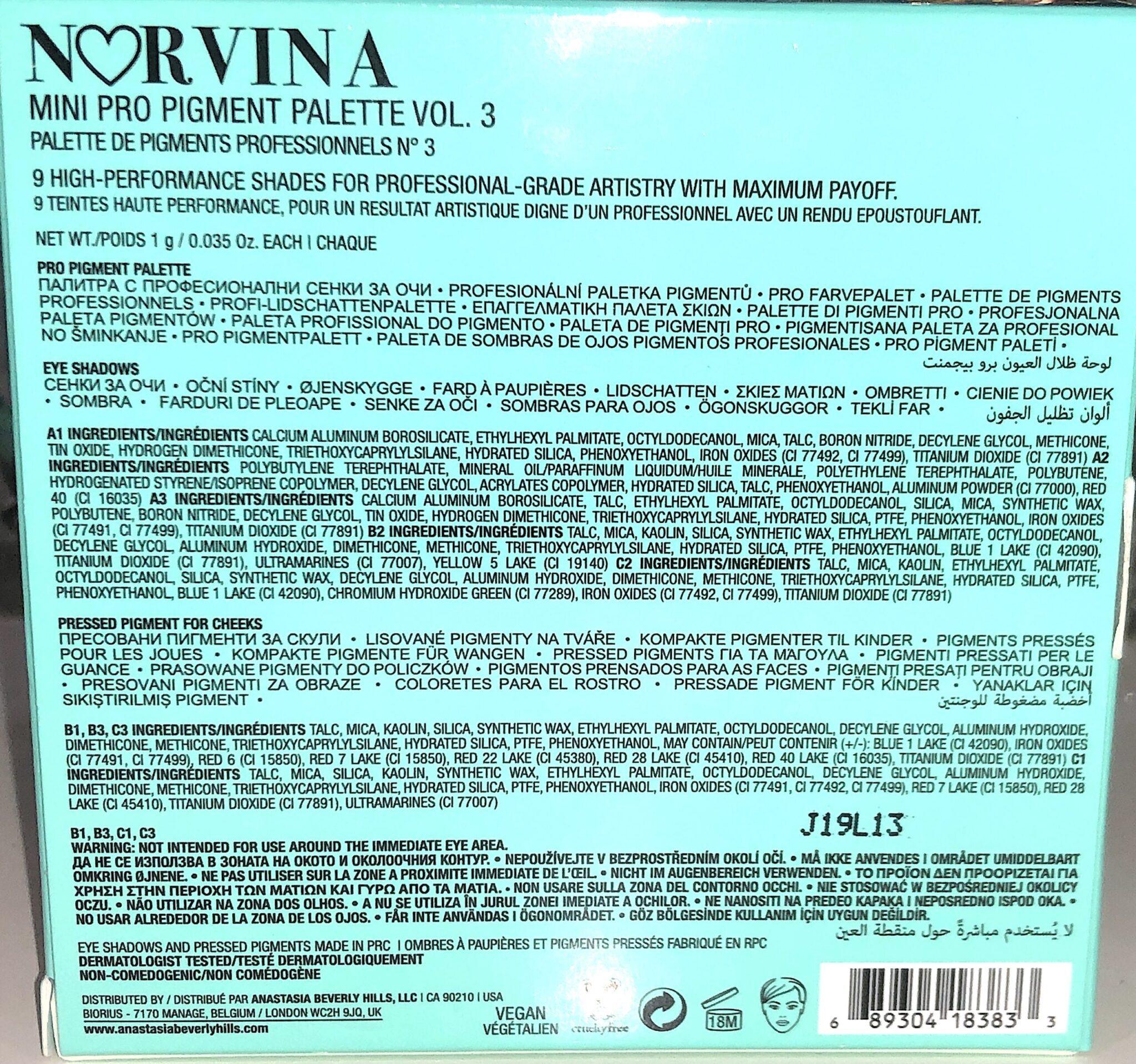 MINI NORVINA COLLECTION INGREDIENTS VOLUME 3
