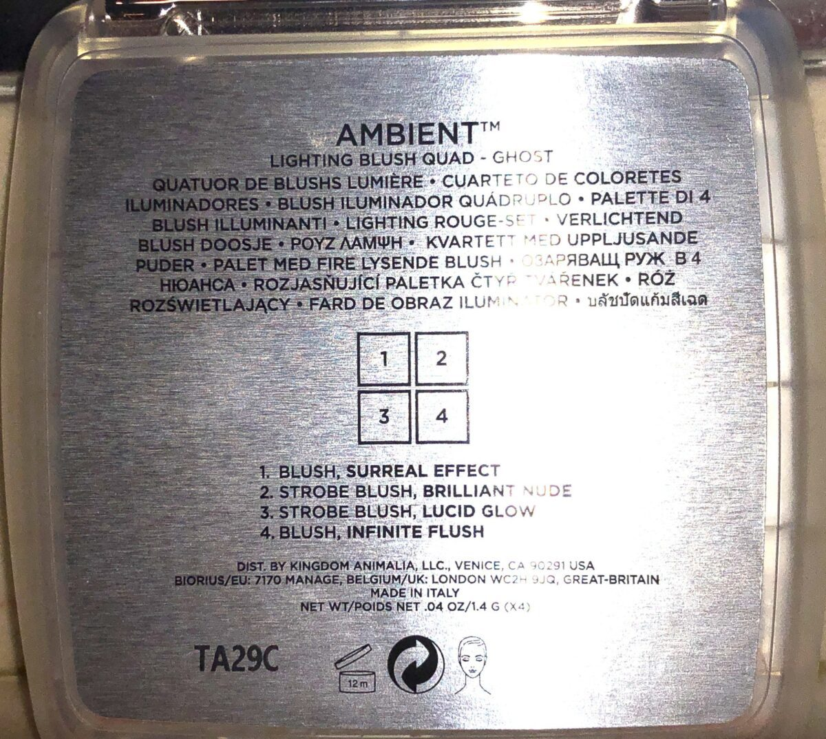 THE BACK OF THE OUTER BOX PACKAGING FOR HOURGLASS GHOST BLUSH PALETTE